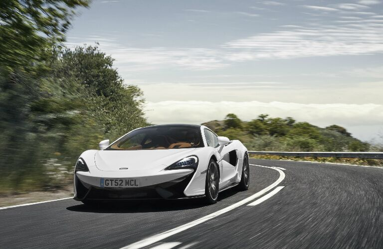 Front view of white 2020 McLaren 570GT