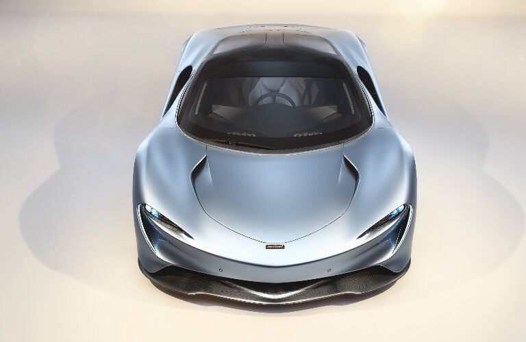 Front view of light blue 2020 McLaren Speedtail