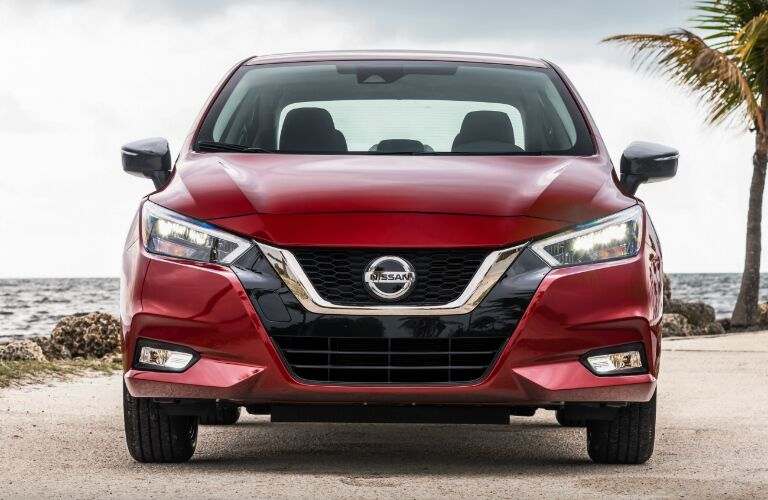 Front view of red 2020 Nissan Versa