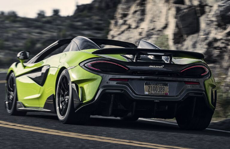Rear view of neon green 2020 McLaren 600LT Spider