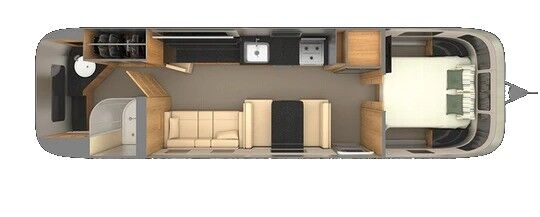 The interior layout of a 2021 Airstream Classic 33FB.