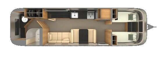 The interior layout of a 2021 Airstream Classic 33FB Twin.
