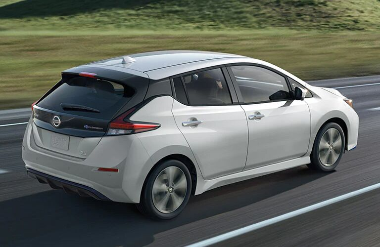 Exterior view of the rear of a white 2020 Nissan LEAF