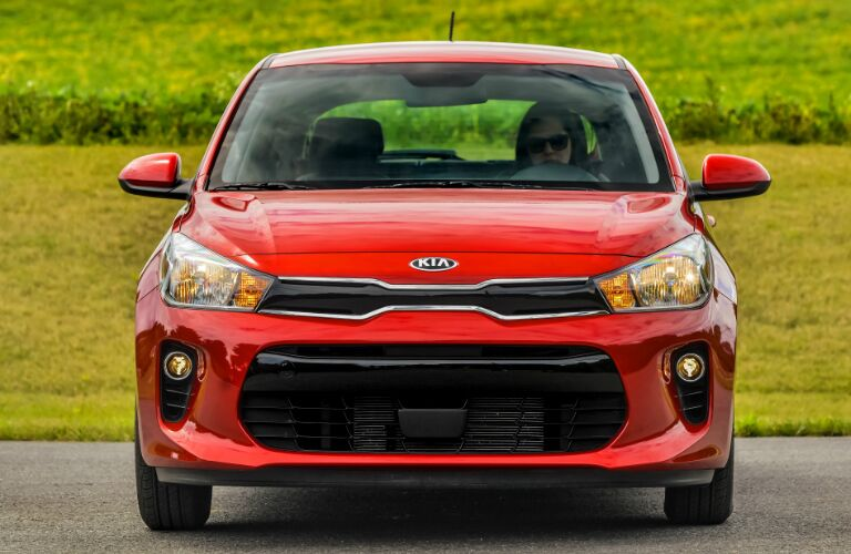 Front view of red 2020 Kia Rio 5-Door