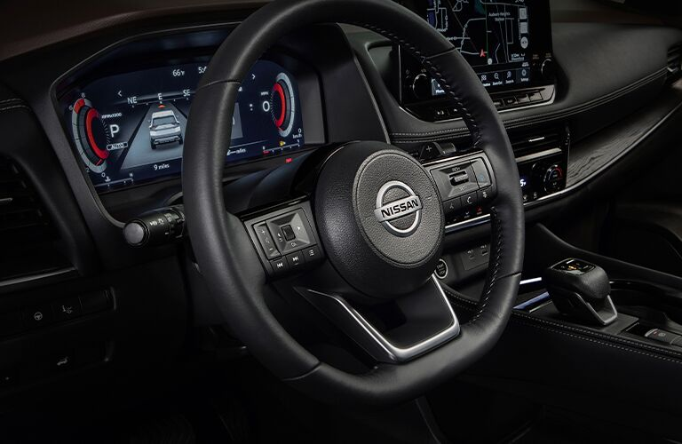 Steering wheel and dash area of 2021 Nissan Rogue