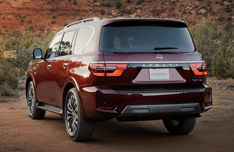 Side and rear exterior view of the 2021 Nissan Armada