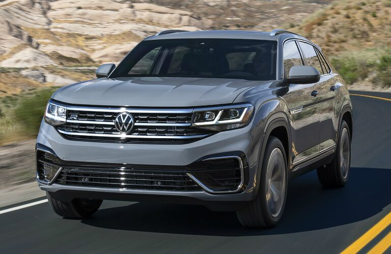 Driver's side front angle view of grey 2020 Volkswagen Atlas Cross Sport