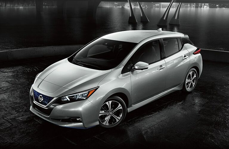 Exterior view of the front of a gray 2020 Nissan LEAF