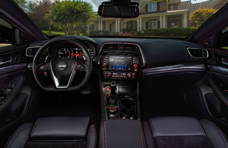 Dashboard and dark grey front seats in 2020 Nissan Maxima