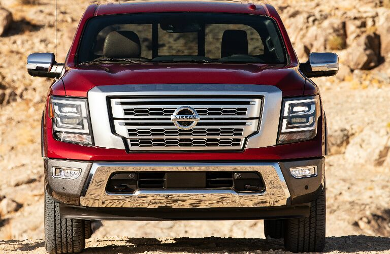 Front view of red and silver 2020 Nissan TITAN
