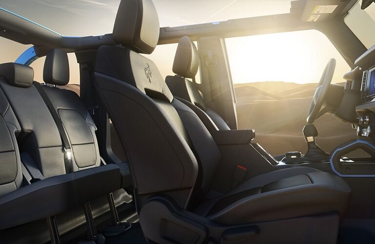 A side interior view of the seating inside the 2021 Ford Bronco..