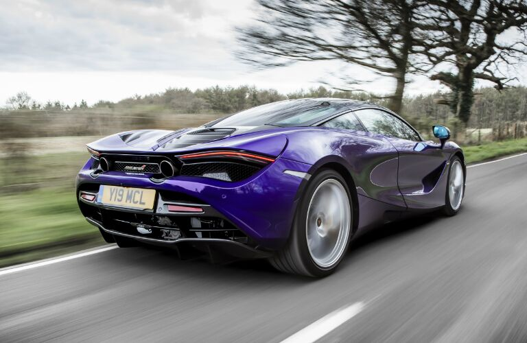 Rear view of purple 2020 McLaren 720s