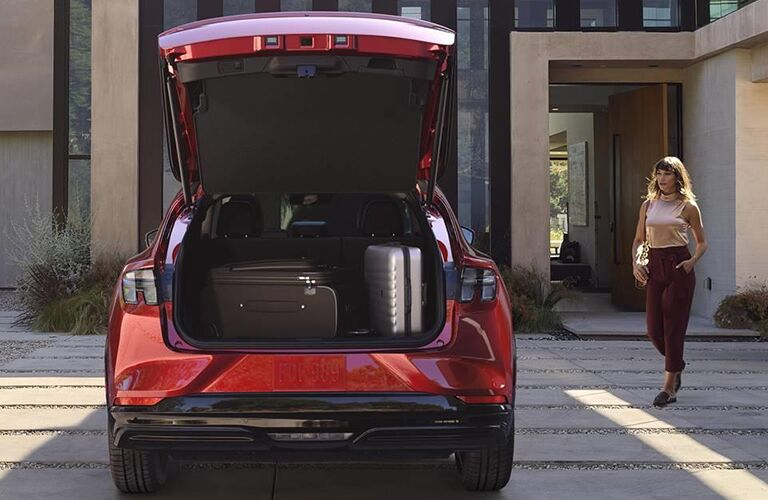 The rear liftgate on the red 2021 Ford Mustang Mach-E.