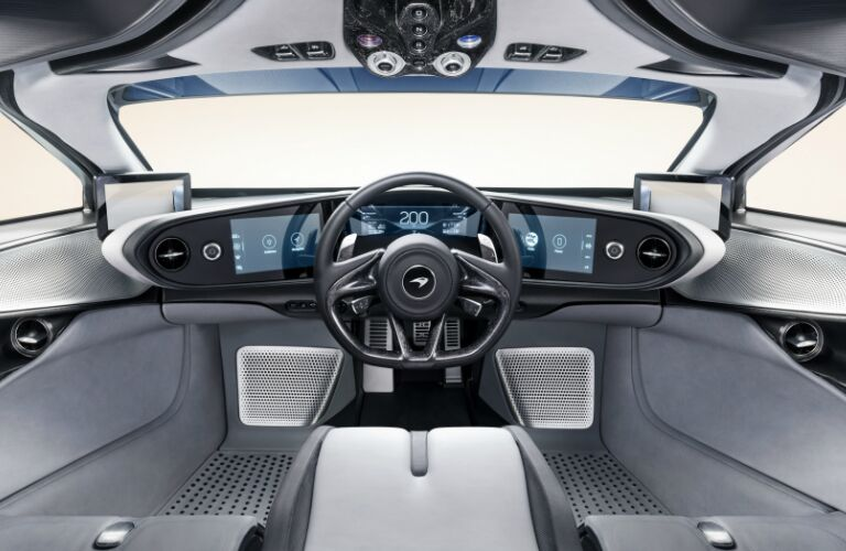 Cockpit of 2020 McLaren Speedtail with a centrally located driver's seat