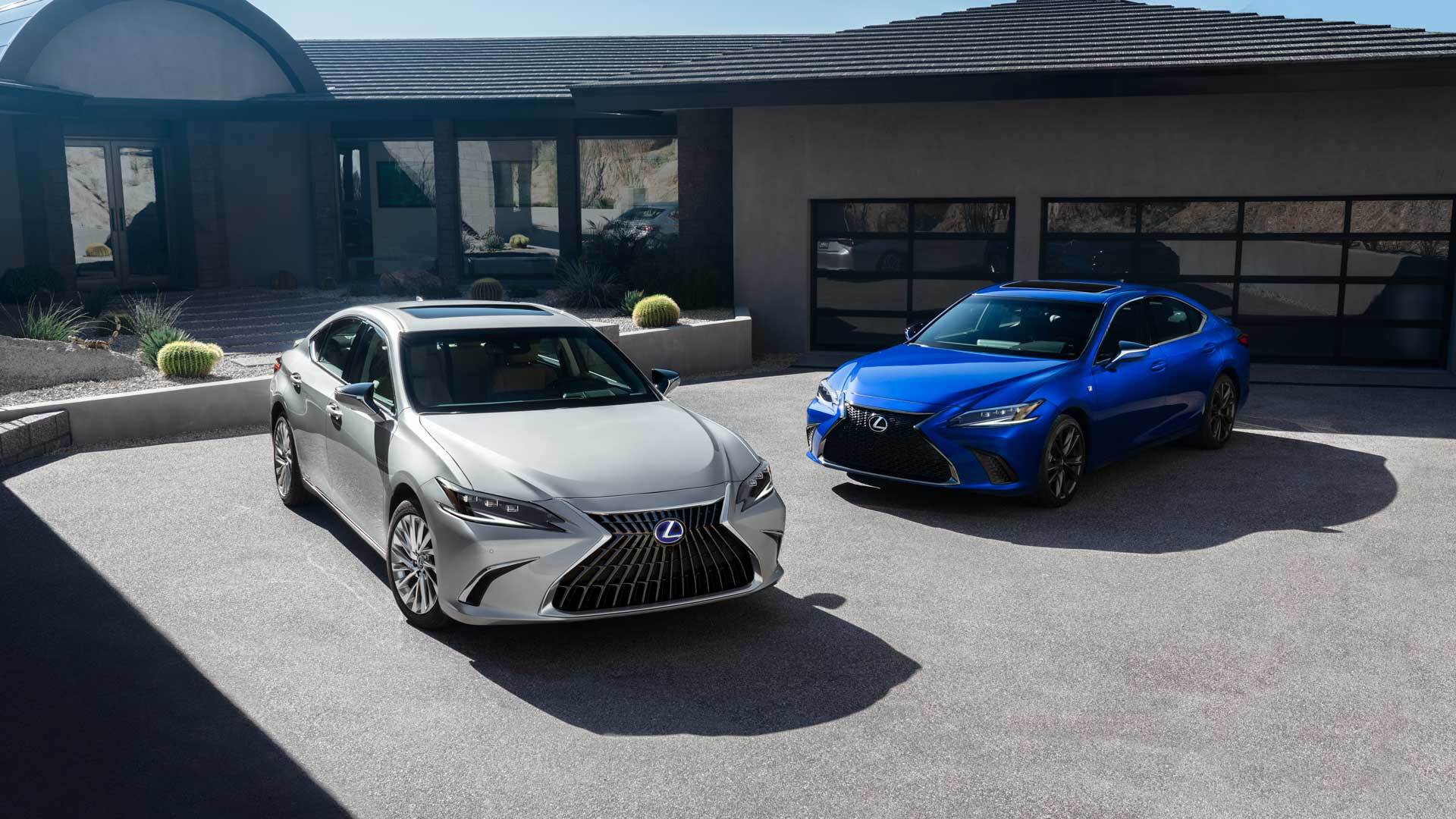 Exterior of the Lexus ES Hybrid shown in Iridium and the ES F SPORT shown in Ultrasonic Blue Mica 2.0.