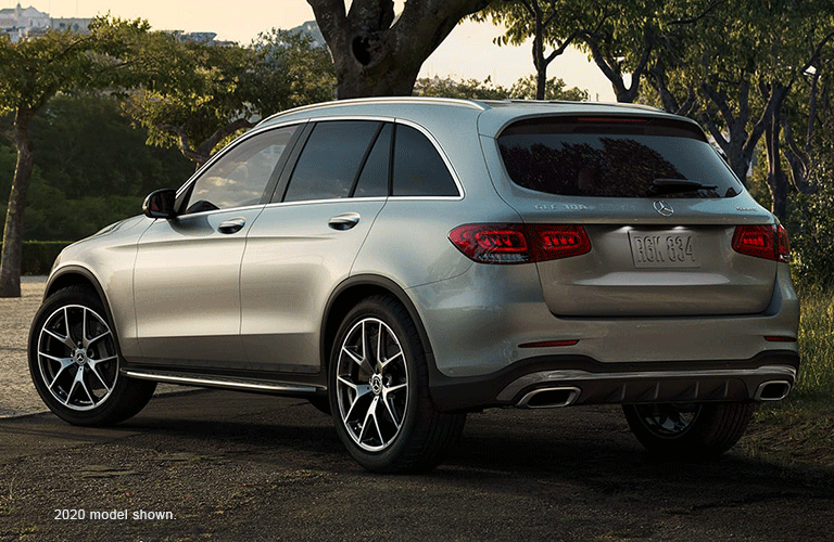 2021 MB GLC exterior rear fascia driver side in front of trees