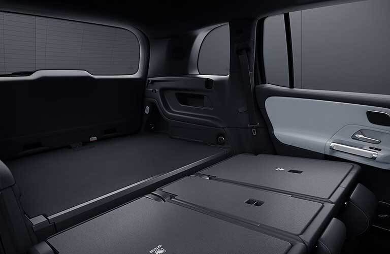 2020 MB GLB interior rear cargo space seats folded down
