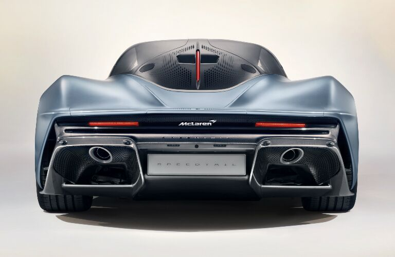 Rear view of light blue 2020 McLaren Speedtail