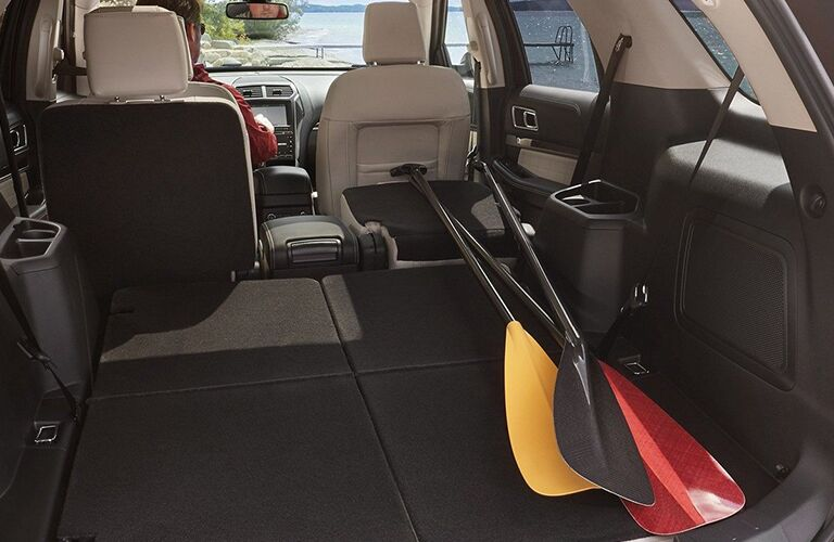 Paddles in the cargo area of a 2019 Ford Explorer