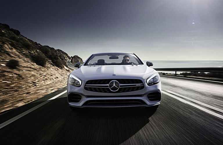 front grille view of white Mercedes-Benz SL-Class convertible
