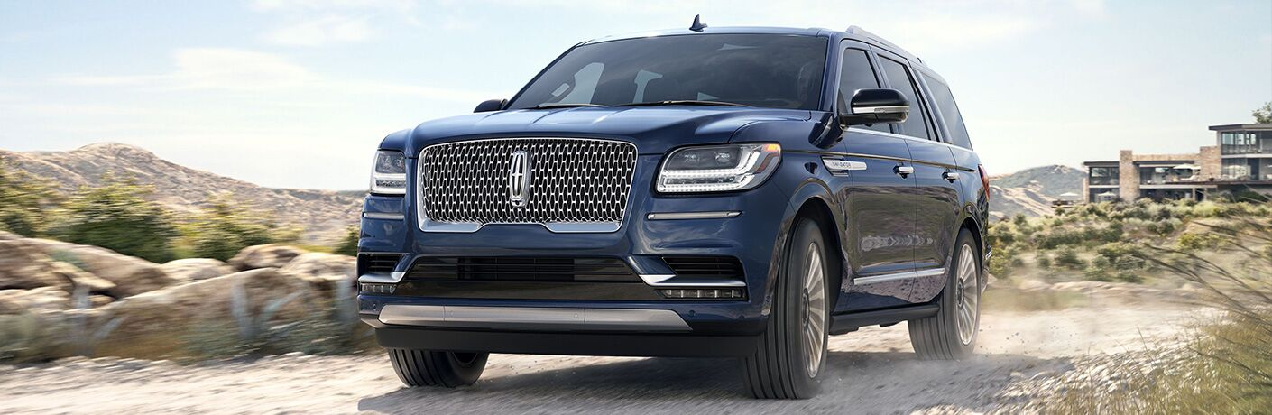 Front view of blue 2019 Lincoln Navigator