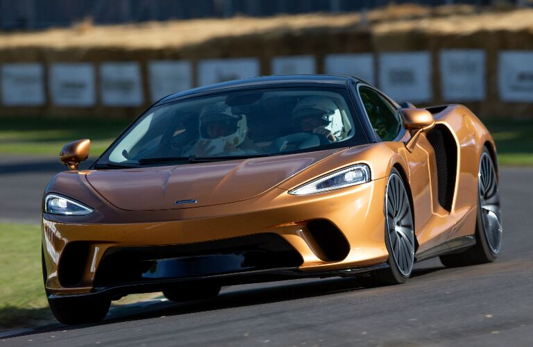 Front view of orange 2020 McLaren GT