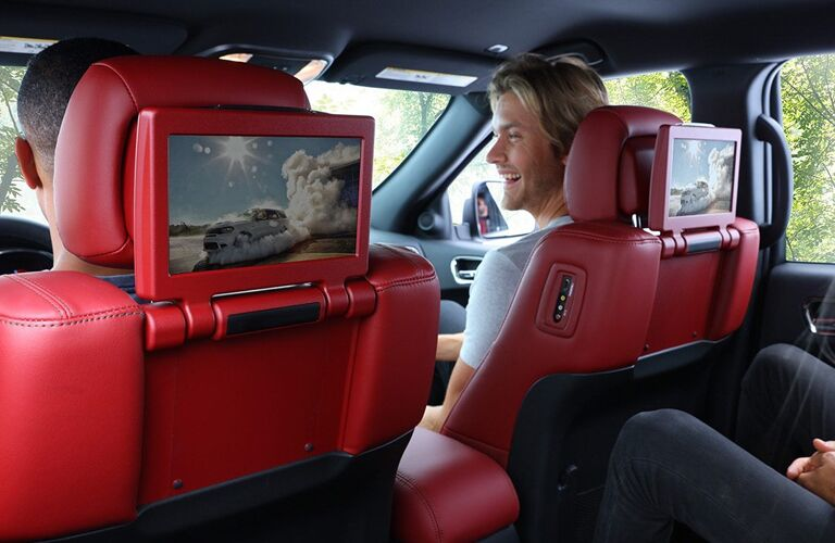 Interior view of the rear seat entertainment system available in the 2020 Dodge Durango