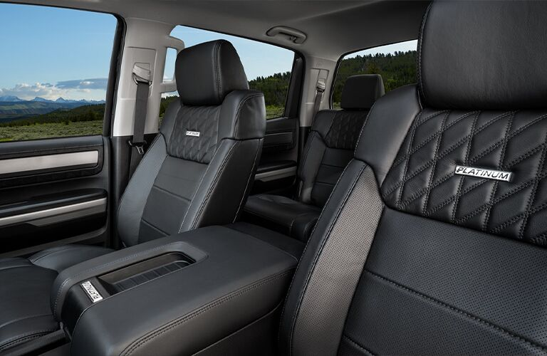 An interior view of the seating inside a 2021 Toyota Tundra.