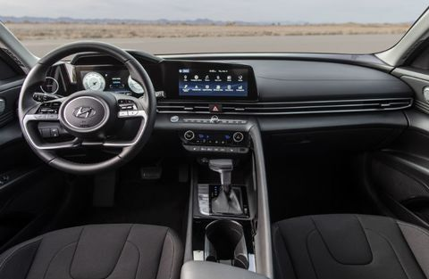 The front interior inside the 2021 Hyundai Elantra.