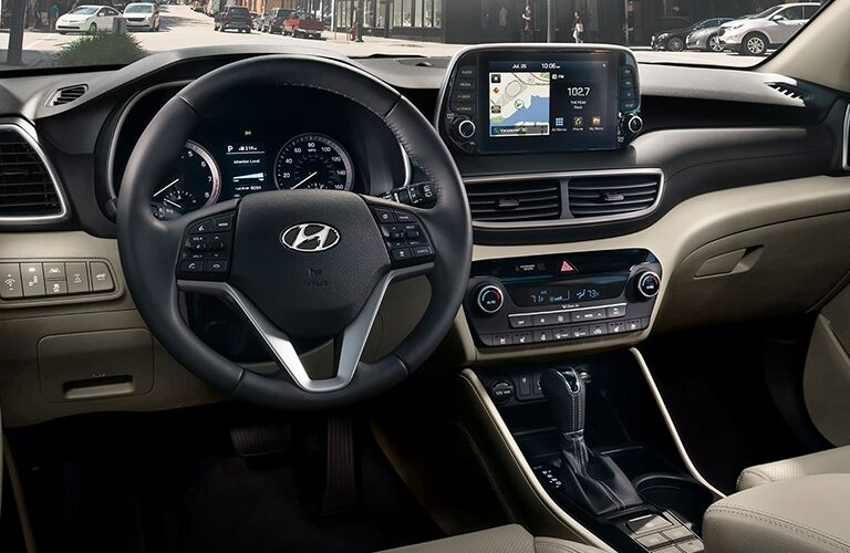 2020 Hyundai Tucson steering wheel and dashboard view