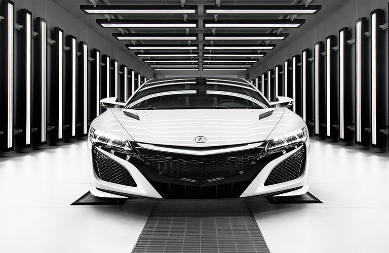 2019 Acura NSX exterior front fascia in white and gray room