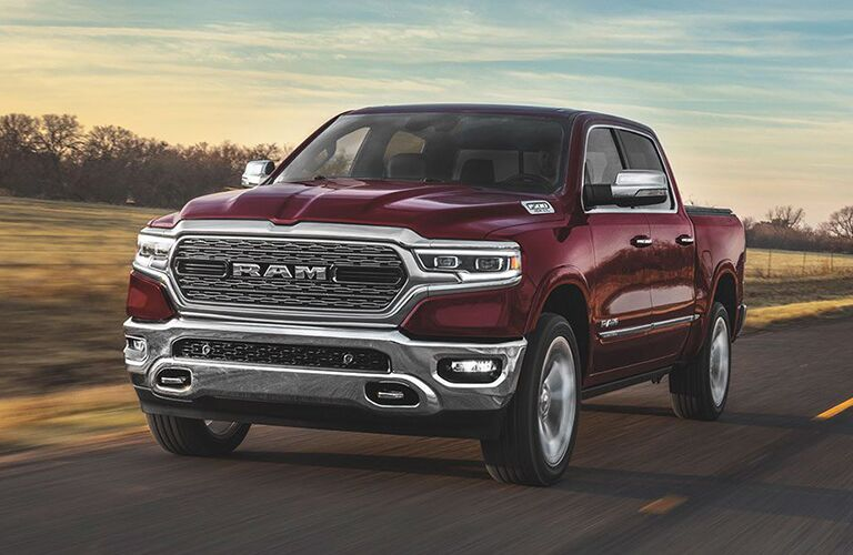 Front view of red 2020 Ram 1500 on the road