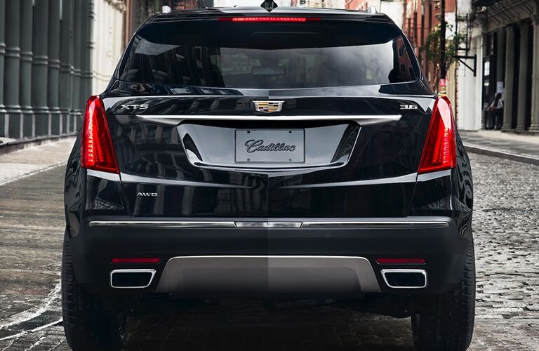Rear view of a black 2019 Cadillac XT5