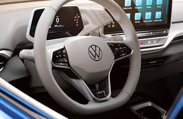 Closeup of steering wheel in 2021 VW ID.4