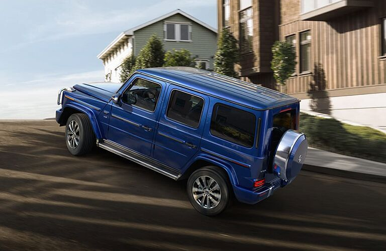 2021 MB G-Class exterior rear fascia driver side on hill
