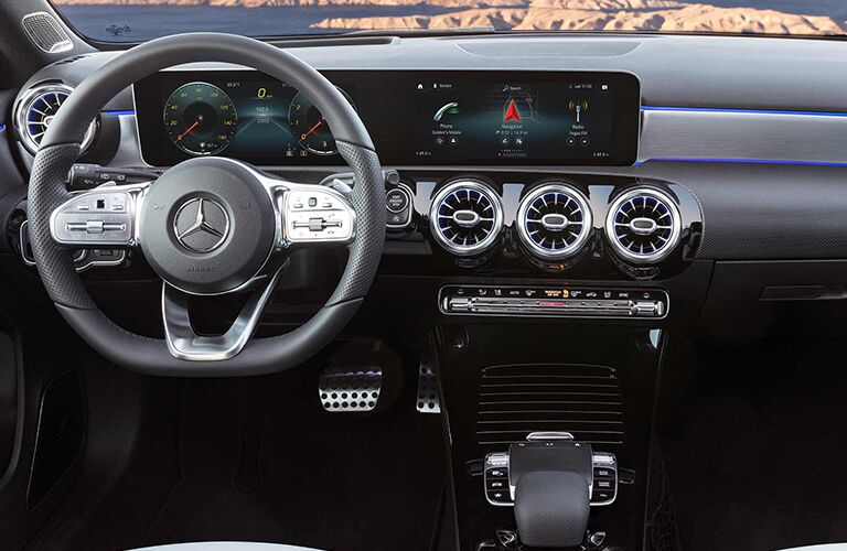 2019 MB A-Class interior front cabin steering wheel dashboard