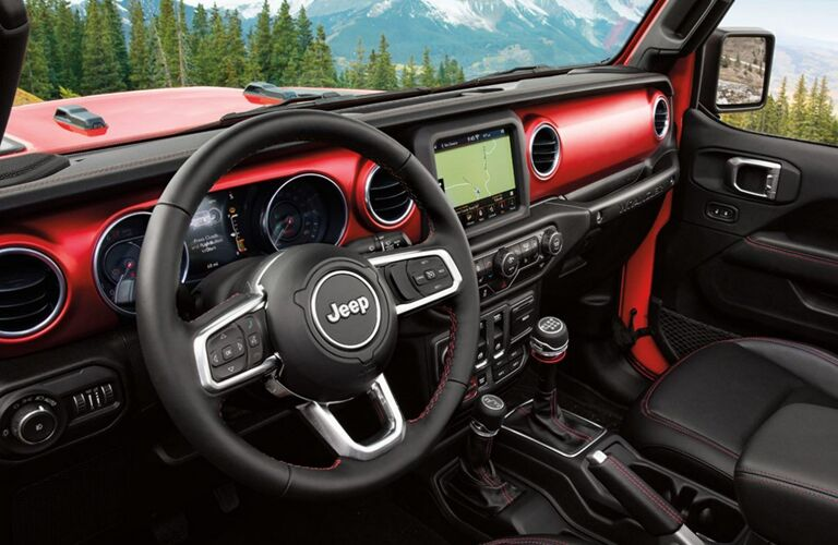 front interior of the 2020 Jeep Wrangler