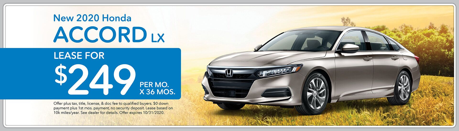 2020 Honda Accord LX, Lease for $249/mo. for 36 mos.   Green Bay, WI