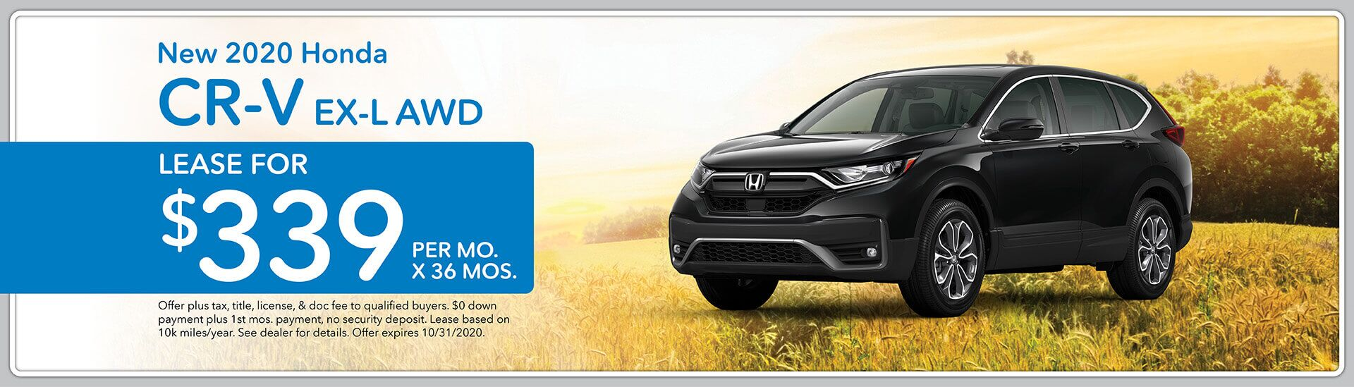 2020 Honda CR-V EX-L AWD, Lease for $339/mo. for 36 mos.   Green Bay, WI