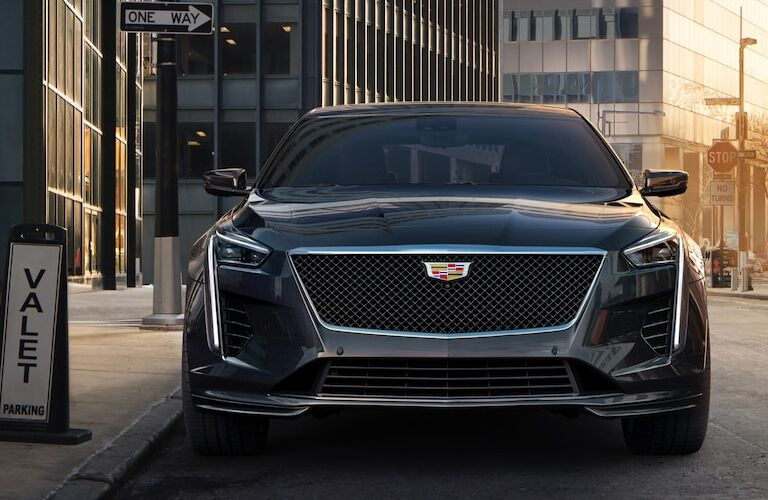 Front view of a 2019 Cadillac CT6 parked on the side of a street