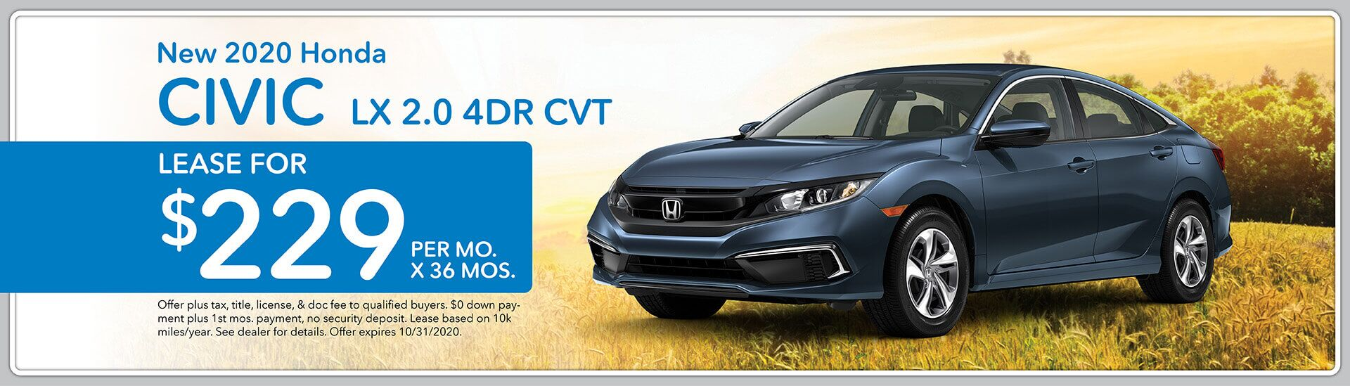 2020 Honda Civic LX, Lease for $229/mo. for 36 mos.   Green Bay, WI