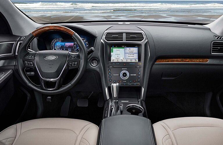 Grey dashboard and white front seats in 2019 Ford Explorer