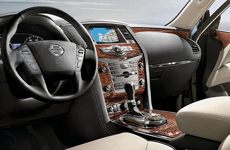 Interior view of the steering wheel inside the front seating area inside a 2020 Nissan Armada