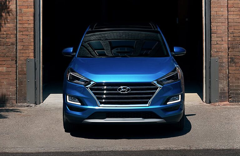 2020 Hyundai Tucson exterior front fascia emerging from garage