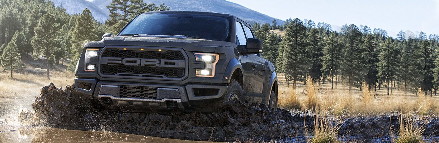 2018 Ford F-150 Raptor black front view in mud