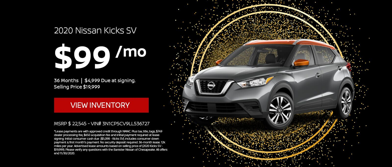 Lease a 2020 Nissan Kicks SV