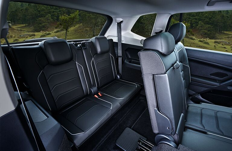 Interior view of the rear seating available inside a 2020 Volkswagen Tiguan