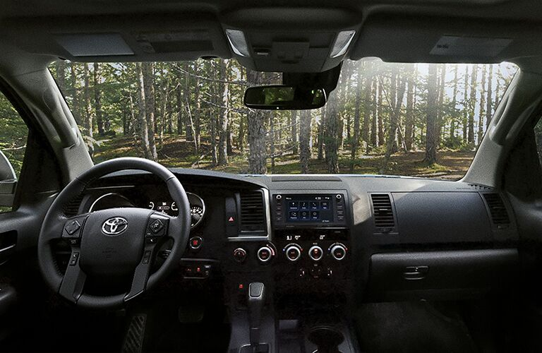 2020 Toyota Sequoia interior looking out into a forest