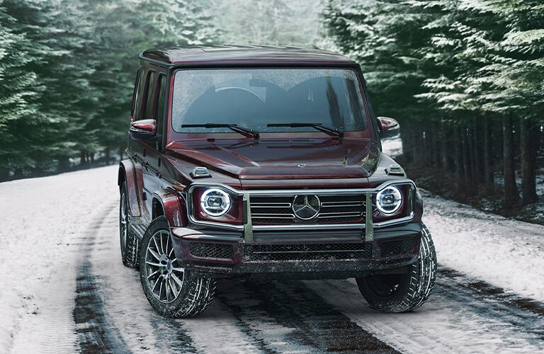2020 MB G-Class exterior front fascia on snowy road
