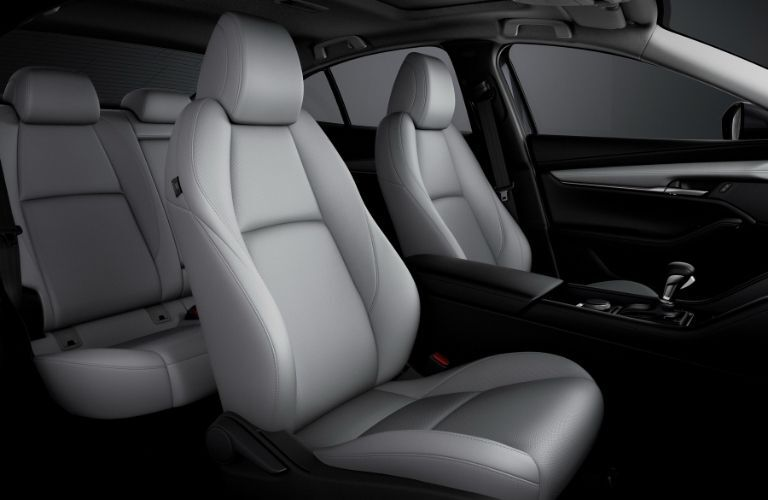 Interior view of the seating available inside a 2021 Mazda3 Sedan